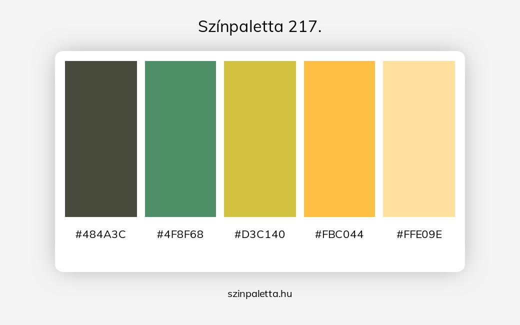 Színpaletta 217. - Színpaletta a következő címkékkel: narancssárga, sárga, zöld, meleg színek, hideg színek, narancssárga és sárga, narancssárga és zöld, narancssárga különböző árnyalatai, zöld különböző árnyalatai, tört színek, tört narancssárga, tört sárga, tört zöld,  színpaletta. - szinpaletta.hu